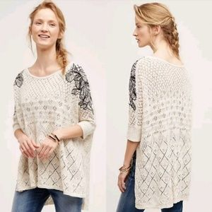 Anthropologie Launa Floral Embroidered Sweater ***